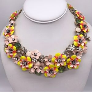 J. Crew Fun Floral Yellow & Pink Flower Necklace